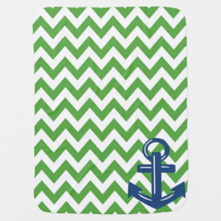 Green and White Chevron Anchor Throw Blanket Receiving Blankets
