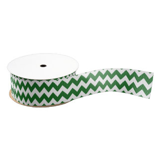 Green and White Chevron Blank Ribbon