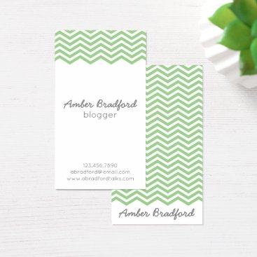 Professional Business Green and White Chevron Business Cards