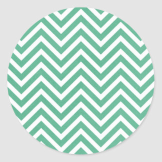 Green and white chevron pattern classic round sticker