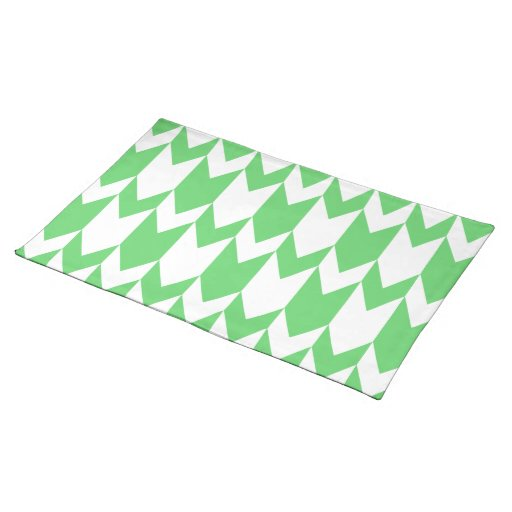 Green and White Chevron Pattern. Cloth Placemat