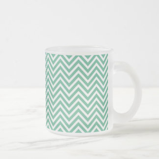 Green and white chevron pattern frosted glass coffee mug