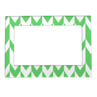 Green and White Chevron Pattern. Magnetic Frame