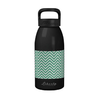 Green and white chevron pattern reusable water bottles