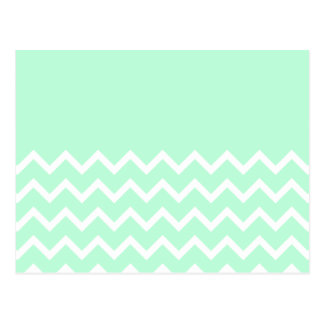 Green and White Chevron Pattern with Plain Green. Postcard