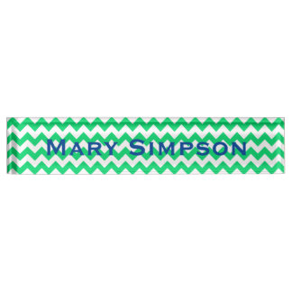 Green and White Chevron Print Name Plate