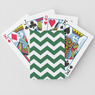 Green And White Chevron Stripes Bicycle Playing Cards