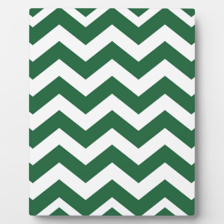 Green And White Chevron Stripes Plaque