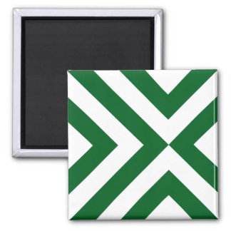 Green and White Chevrons 2 Inch Square Magnet