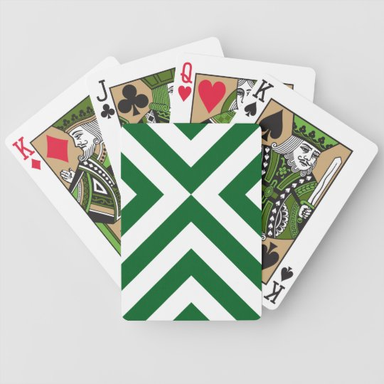 Green and White Chevrons Bicycle Playing Cards
