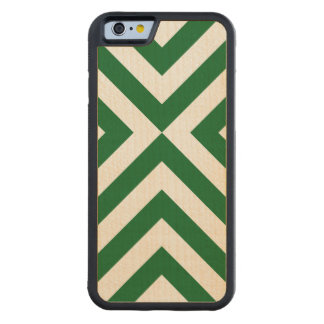 Green and White Chevrons Carved® Maple iPhone 6 Bumper Case