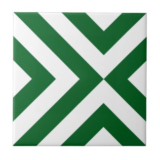 Green and White Chevrons Ceramic Tile