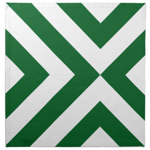 Green and White Chevrons Cloth Napkin