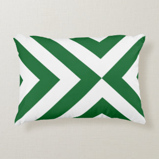 Green and White Chevrons Decorative Pillow