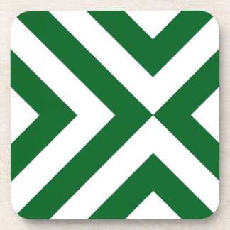 Green and White Chevrons Drink Coaster