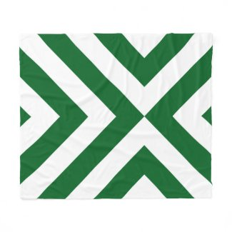Green and White Chevrons Fleece Blanket