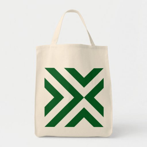 Green and White Chevrons Grocery Tote Bag
