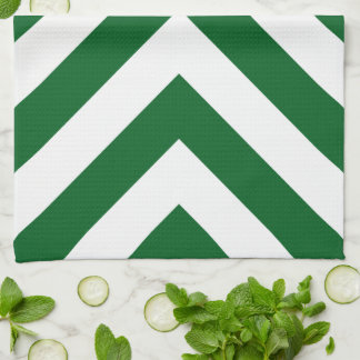 Green and White Chevrons Hand Towel