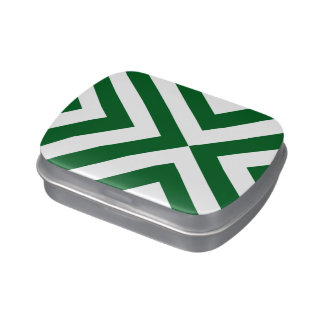 Green and White Chevrons Jelly Belly Candy Tins