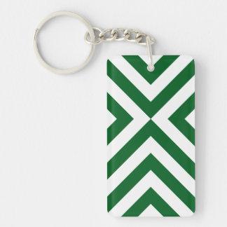 Green and White Chevrons Rectangular Acrylic Key Chain