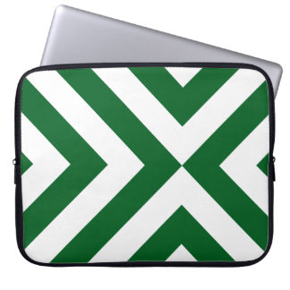 Green and White Chevrons Laptop Sleeve