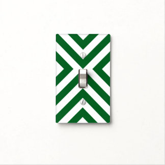 Green and White Chevrons Light Switch Cover