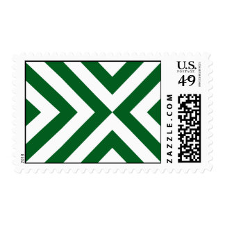 Green and White Chevrons - Medium Postage