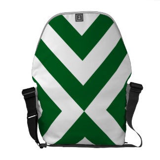 Green and White Chevrons Messenger Bag