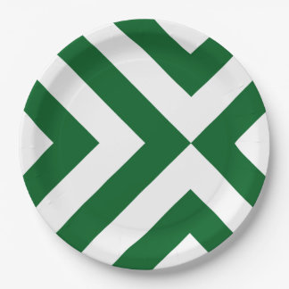 Green and White Chevrons Paper Plate