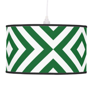 Green and White Chevrons Pendant Lamp
