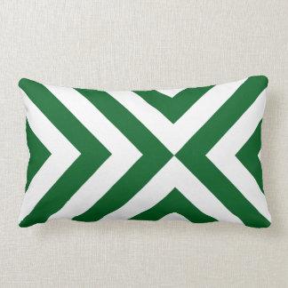 Green and White Chevrons Throw Pillows