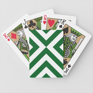 Green and White Chevrons Playing Cards
