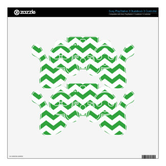 Green and White Chevrons PS3 Controller Skin