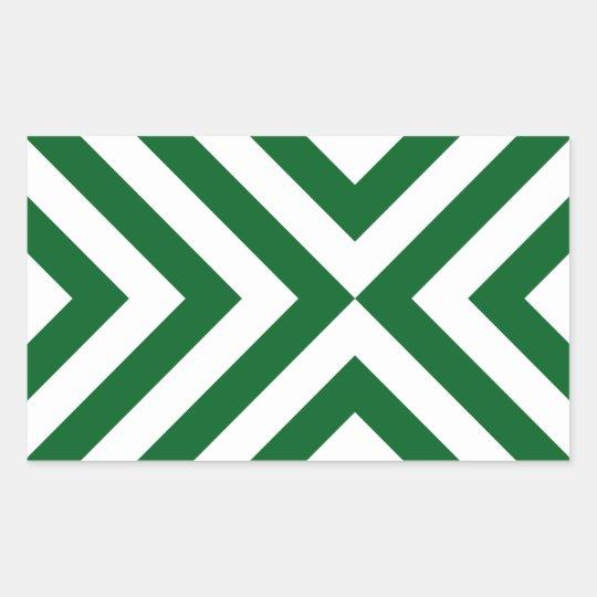 Green and White Chevrons Rectangular Sticker