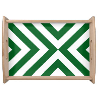 Green and White Chevrons Serving Tray