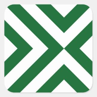 Green and White Chevrons Square Sticker