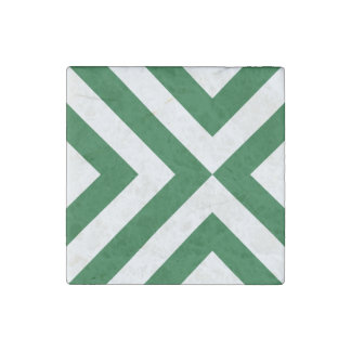 Green and White Chevrons Stone Magnet