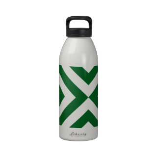 Green and White Chevrons Reusable Water Bottle