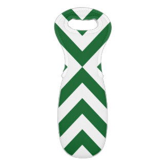 Green and White Chevrons Wine Bag