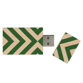 Green and White Chevrons Wood USB Flash Drive