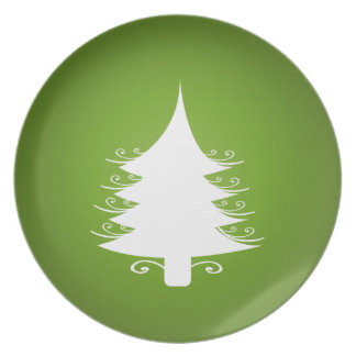Green And White Christmas Holiday Tree Plate