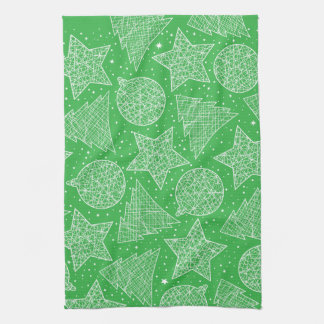 Green and White Christmas Kitchen Towels