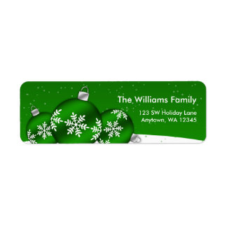 Green and White Christmas Snowflake Ornaments Label