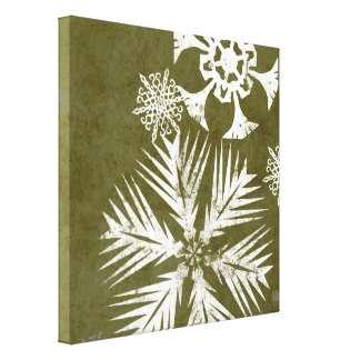 Green and White Christmas Snowflakes Canvas Print