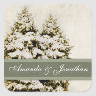 Green and White Christmas Snowflakes Square Stickers