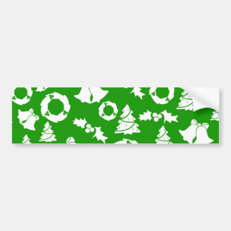Green and White Christmas Winter Holiday Gifts Bumper Stickers