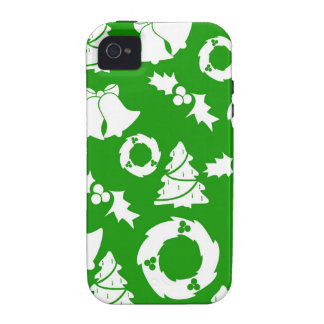 Green and White Christmas Winter Holiday Gifts iPhone 4 Cases
