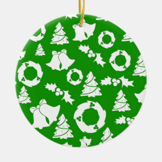 Green and White Christmas Winter Holiday Gifts Ceramic Ornament