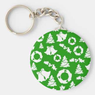 Green and White Christmas Winter Holiday Gifts Keychain