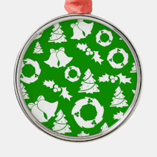 Green and White Christmas Winter Holiday Gifts Metal Ornament